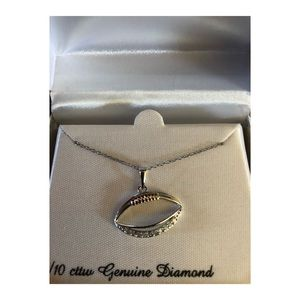 Sterling Silver 1/10 Diamond Football Necklace